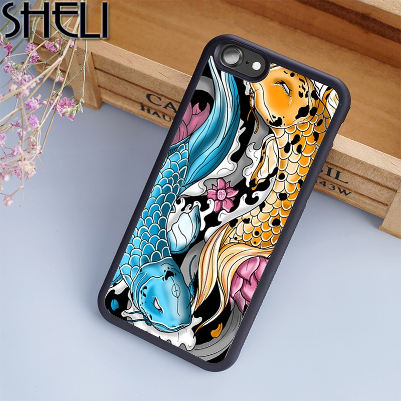 Enthusiastic Sheli Koi Carp Fish Japanese Phone Case For Iphone 6 6s Plus 7 8 Plus X 5s Back Cover For Samsung Galaxy S5 S6 S7 S8 Edge Plus Cellphones & Telecommunications