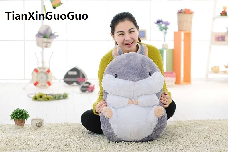 cartoon fat gray hamster plush toy soft doll large 55cm hugging pillow birthday gift w2930 cartoon glasses panda in yellow cloth large 70cm plush toy panda doll soft pillow christmas birthday gift x031