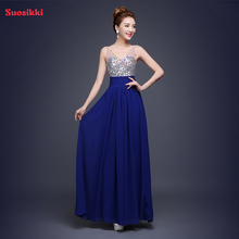 Suosikki 2017 Royal blue Evening Dress Formal Party Gown Chiffon Sequin V Neck Backless Plus Size Prom Dresses
