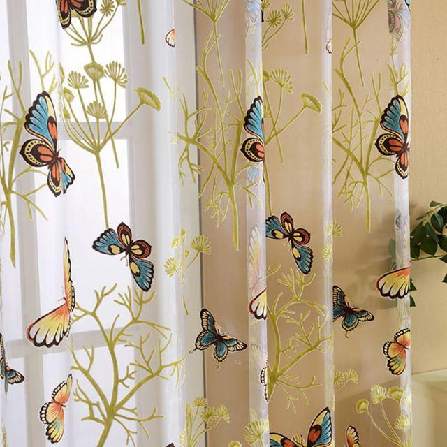 Curtains Ideas butterfly valance curtains : Curtains Butterfly Pattern Valances Tulle Voile Balcony Curtain ...
