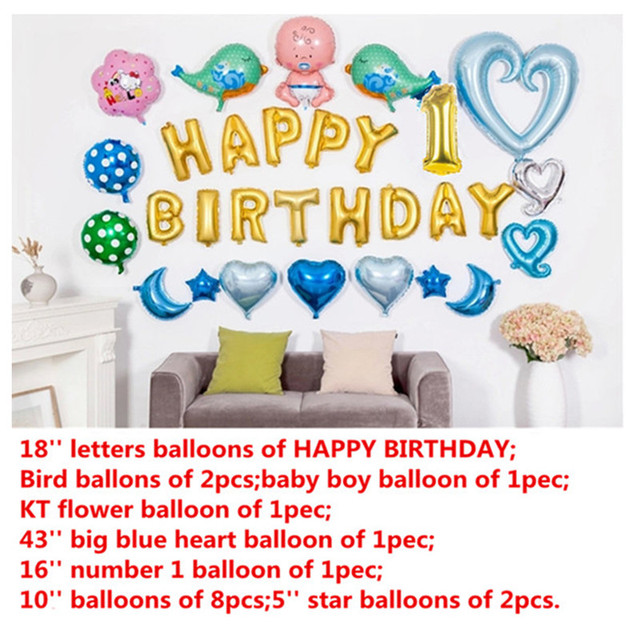 29pcs Happy 1st Birthday Balloons Setbaby Boy Party Decorations Ballon Ball Gift