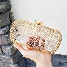 Fashion Design Unique Personality Hollow Metal Cages Party Clutch Evening Bag Women Shoulder Ladies Handbag Messenger Bags