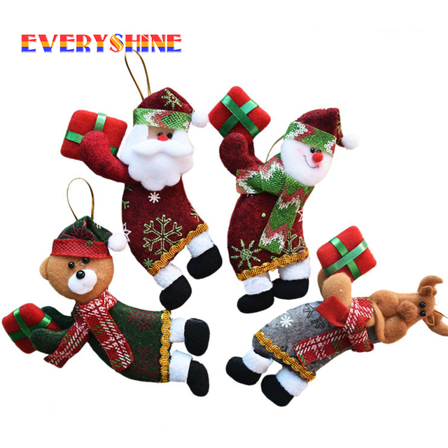 4pcslot santa dolls gifts pendant sale christmas tree decorations hanging ornaments craft supplies new
