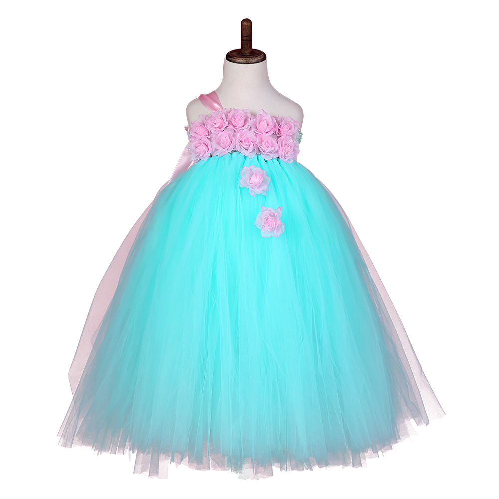 Baby Girl Easter Tutu Dress Mint Green with Pink Rose Flower Dreas  Birthday Wedding Party For