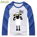 2017 Baby Shaun the Sheep Tshirt Boy Girl Long Sleeve Cotton Clothes Children Spring Cartoon Raglan Tee Tops Kids Shirts DCY008