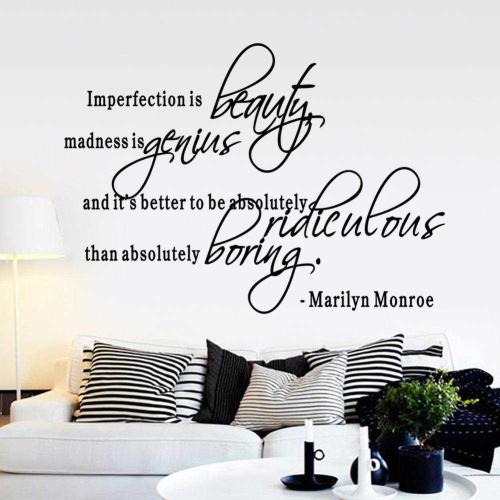 Imperfection Is Beauty MARILYN MONROE Vinyl WALL STICKER 8410. DECAL Decor  QUOTE MURAL Girls Bedroom ART