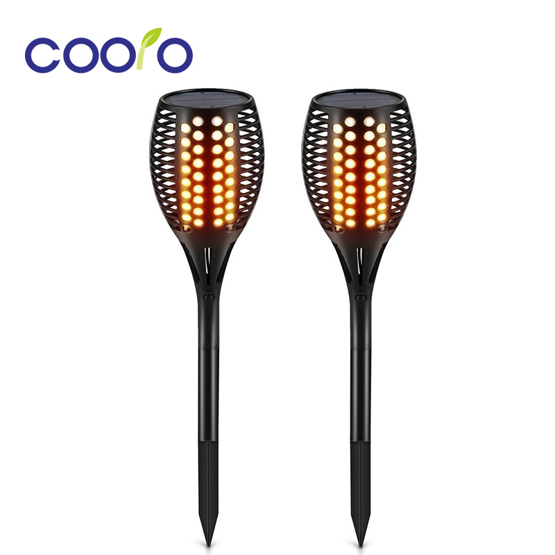 Solar Path Torches Lights Waterproof Flame Lighting 96LED Flickering Torch Lights for Garden Pathways Yard 2pcs