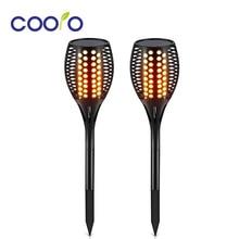 Antorchas solares de sendero, luces de llama impermeables, luces de antorcha parpadeantes 96LED para jardín/caminos/yarda 2 unids/lote