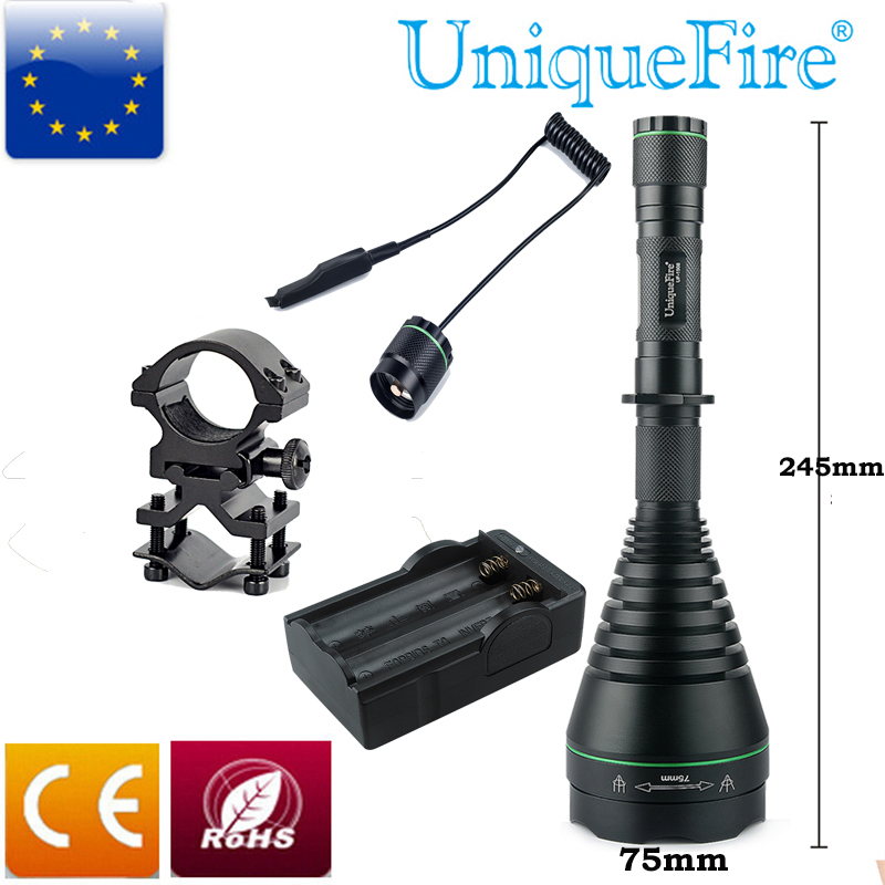 UniqueFire 1508-75-940nm IR Flashligh Infrared Radiation Night Vision Light 3 Mode Waterproof Torch +Rat Tail+Charger+Gun Mount uniquefire uf 1508 75 ir 850nm zoomable 3 modes led flashlight rat tail gun mount charger infrared light night vision torch