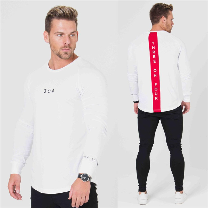 2018 O-collar Running T-shirts Men Quick Dry Fitness Tight Top Long Sleeve Gym Compression Sport Clothing Men's Sportswear