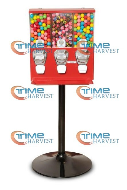 High Quality Coin Operated Slot Machine for Toy Vending Cabinet/triple Capsule Vending Machine/Bulk Vendor/Penny-in-the-slot good quality coin operated tabletop gumball vending machine desktop capsule vending cabinet toy penny in the slot coin vendor