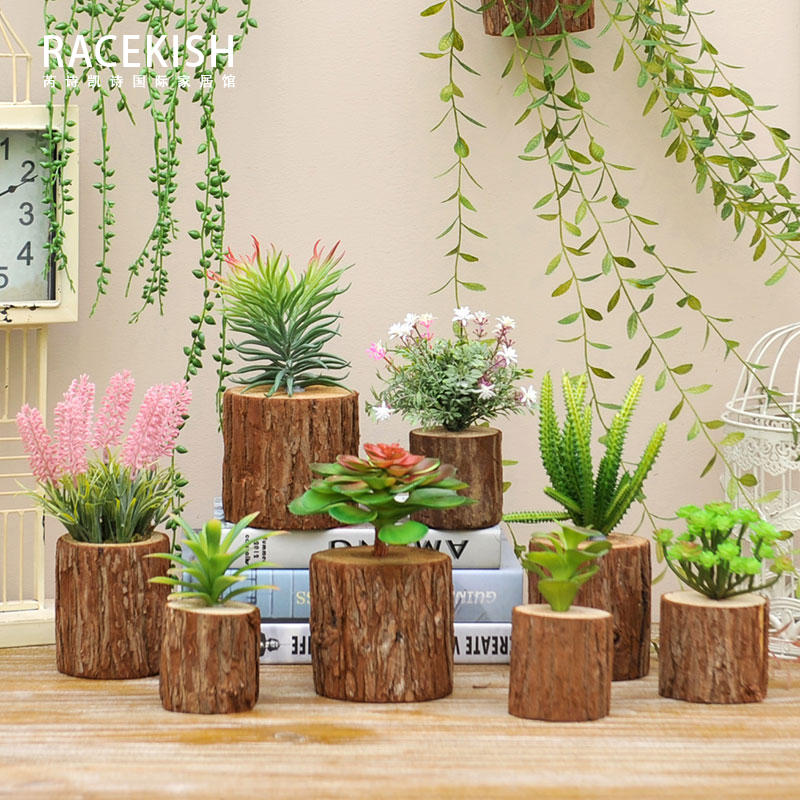Aliexpress.com : Buy 3D Solid Wood Green Plant Simulation Succulents Artificial  Plants Tree Stump Landscape Combination Living Room Home Wall Decor From ...