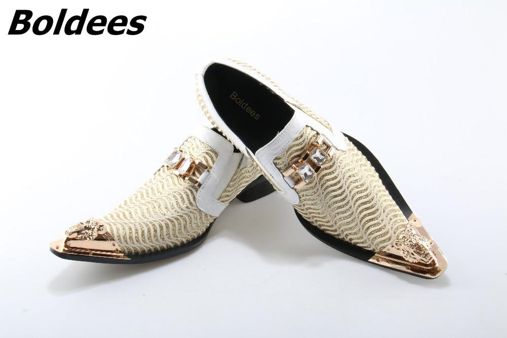 Boldees White Metal Decor Men Genuine Leather Oxfords Slip On Mens Wedding Dress Shoes Square Toe Business Leather Shoe FlatsHot стоимость