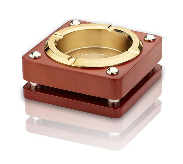 Household Merchandises Ashtrays Zinc alloy wood square ashtray free shipping