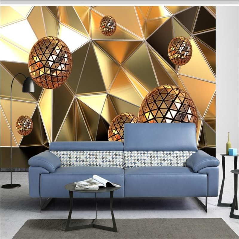 Beibehang Large Custom Wallpaper Fresco Golden Balls Abstract Space 3d Living Room Bedroom Lounge Background Wall Decoration