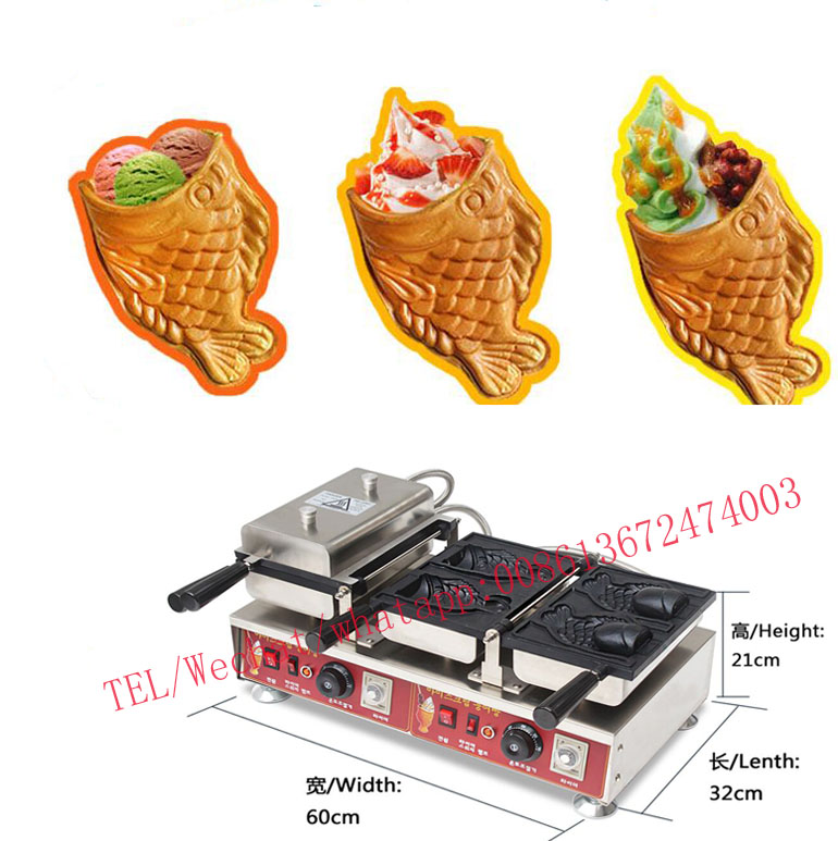 110v 220V New Japanese Ice Cream Taiyaki Machine Warped-tail Fish Cone Waffle Makre marumi mc close up 1 55mm