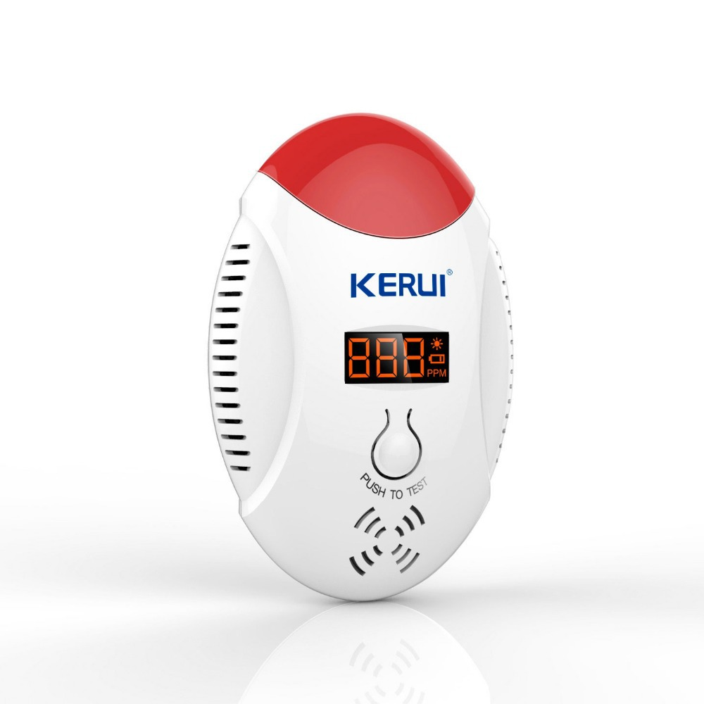 KERUI LED digital display Wireless CO Gas Sensor Leak Detector Alarm Sound Warning can Work With GSM PSTN Security Alarm 433mhz wireless gas detector sensitive combustible co gas detector fire alarm sensor for wireless gsm pstn home security