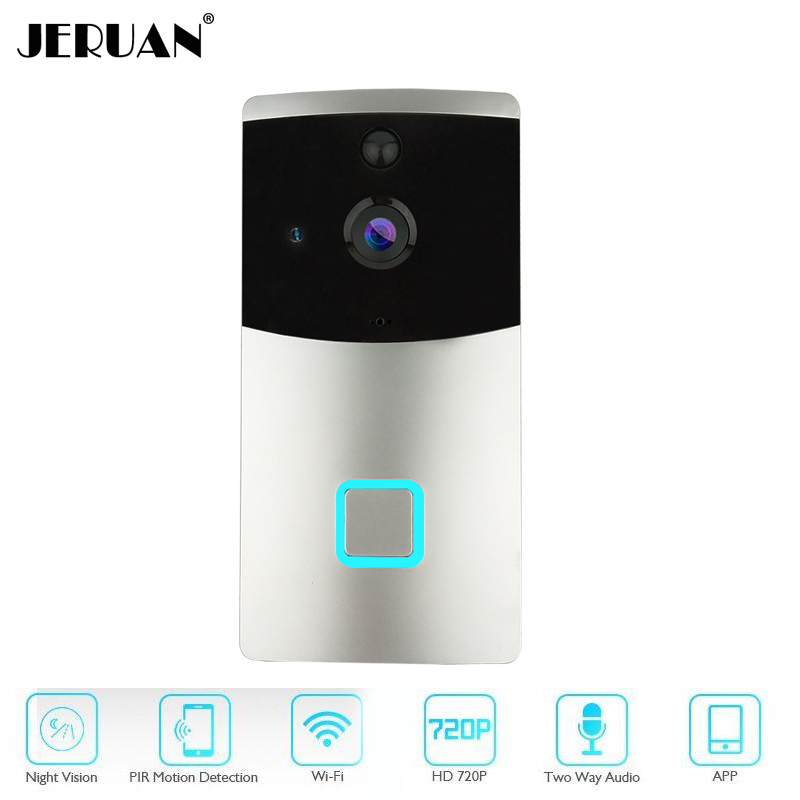 JERUAN Wireless Door Bell Smart WiFi Video Doorbell Security 166 degree Camera Real-Time Two-Way Talk and Video Night Vision 2 4ghz wifi smart video doorbell 720p hd camera with real time video and two way talk night vision pir motion detection f1442a