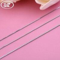 WK 5 10 20 50 100 PCS Lot 925 Sterling Silver Box Chain Necklace Women Wholesale