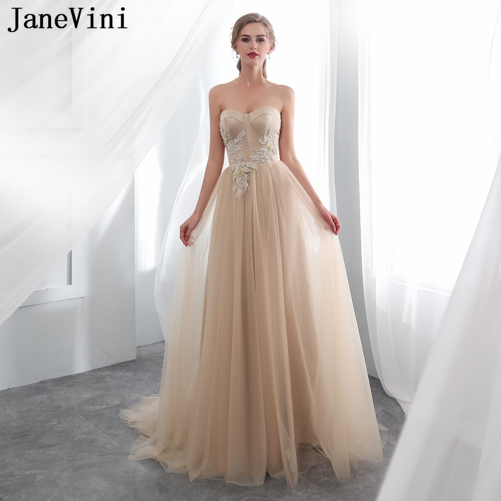JaneVini Elegant Champagne Tulle Long   Bridesmaid     Dresses   Sweetheart A Line Hand Made Flowers Beaded Prom Party Gowns Sweep Train