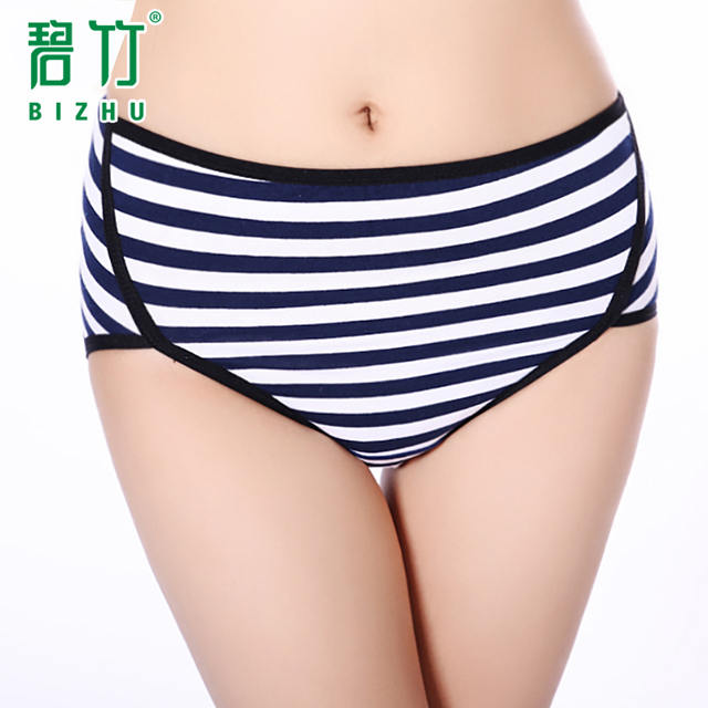 BIZHU 2016 Fashion  physiology striped underwear women panties High waist Health Seamless pants Breathable calcinha leakproof