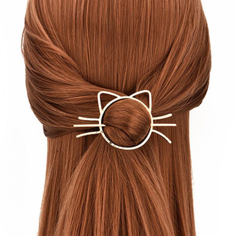 New Korean Cute Blond Simple Cat Shape Hairpin Female Girl Metal Animal Hair Style Hair Clip Jewelry Hair Accessories