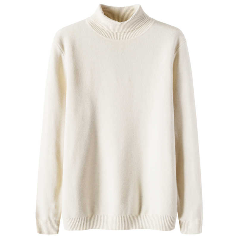 SEMIR Men Wool Blend Fine Knit Sweater with Rolled Ribbed Turtleneck Men's Classic Sweater Ribbing at Cuff and Hem for Winter