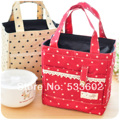 Waterproof Nylon Thermal Bag Lace Decoration Dot  Lunch Bag Picnic Bag For Women Kids
