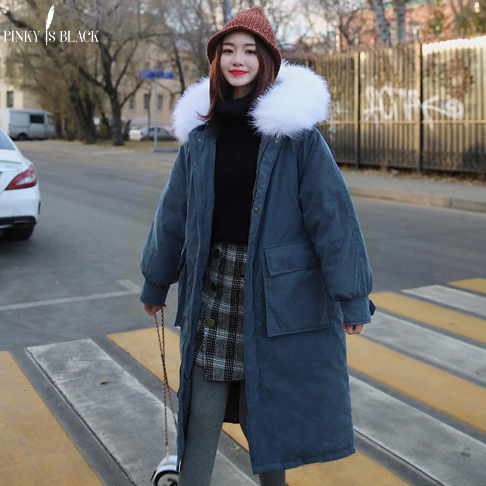 PinkyIsBlack Big Fur Long   Parkas   Winter Jacket Women Oversize Suede Coat Hooded Female 2019 Warm Winter Women Clothing Outwear