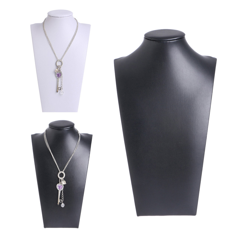 JAVRICK PU Leather Neck Props Jewelry Necklace Pendant Neck Model Display Stand Holder