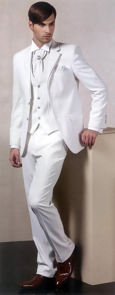 Bespoke Men Dress Gentlemen Blazer Style New White Notch Lapel Men Suit Ropa Formal Hombres(Jacket+Pant+Handkerchiefs+Vest+Tie)