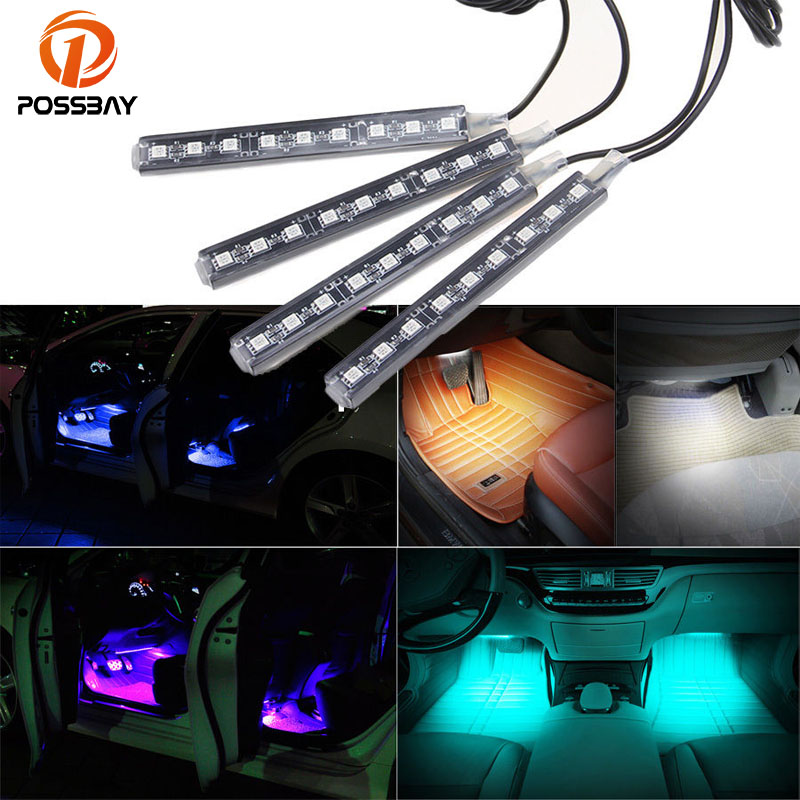 Funny 4 in 1 LED Car Charge Interior Atmosphere Mood Light Blue Lamps Newly
