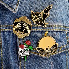 Creativity Punk Brooch Bat Bee Skull Crystal Ball Brooches Jeans Backpack Handbag Metal Badges(China)