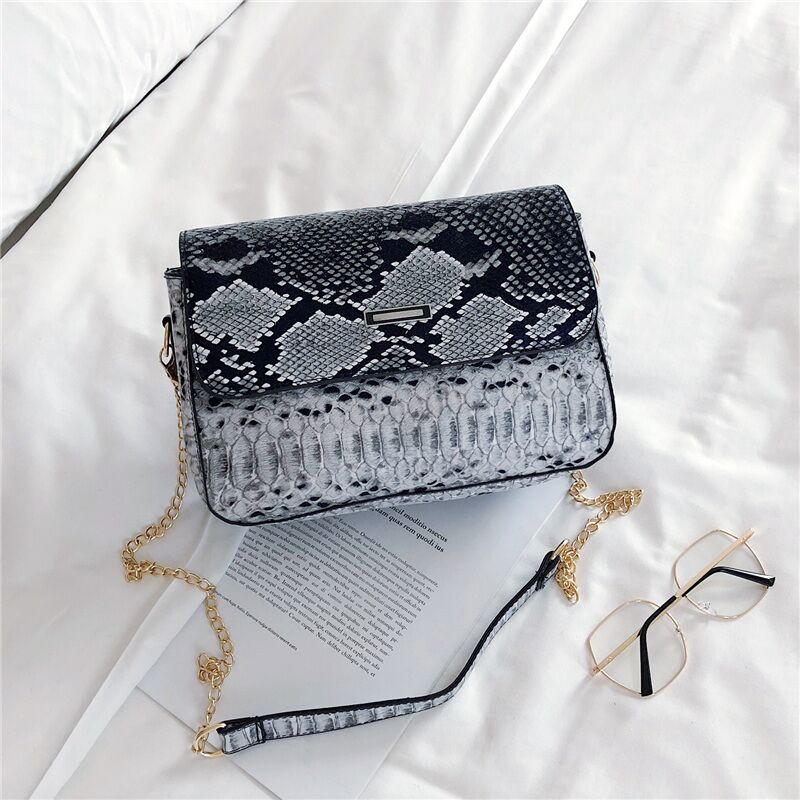 PU Leather Shoulder Bag Small Crossbody Bag Women Fashion Female Chain Messenger Bag Snakeskin Lady Shoulder Bag Square Bag(China)