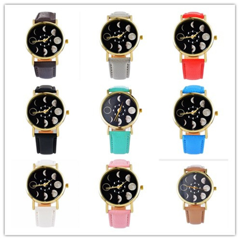 9pcs/lots Fashion Moon Photo Starry Sky Space Watch Unisex watch Mens watches top brand luxury Relojes hombre 2017 clock Saat starry sky space watch little star silicone watches kids sport quartz watch luxury brand hot boys girls watches relojes mujer