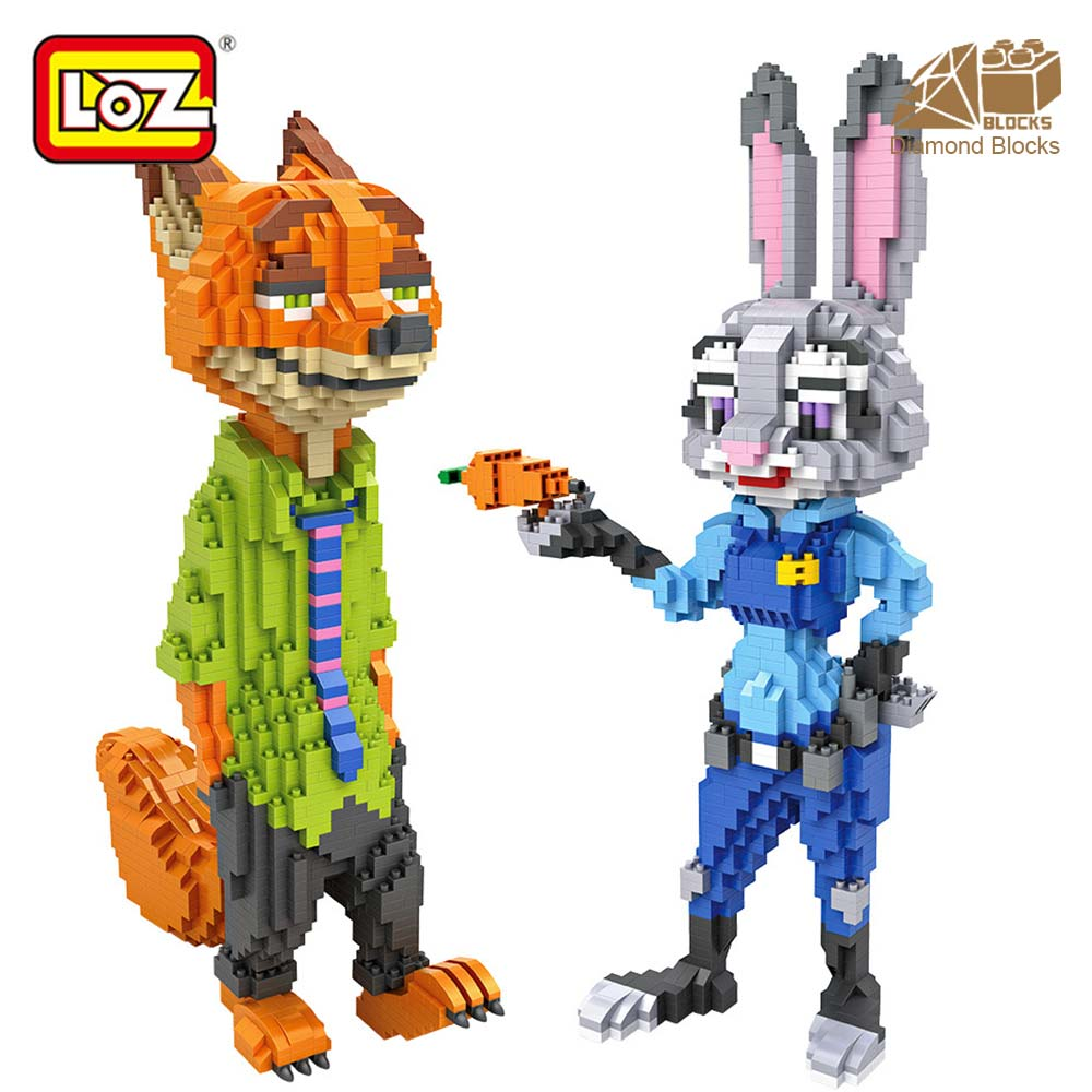 LOZ Diamond Blocks Cartoon Animal Fox Rabbit Anime Action Figure Figurine Assembly Building Block Micro Brick Educational Toys loz 280pcs l 9522 deadpool action figure building block educational diy toy