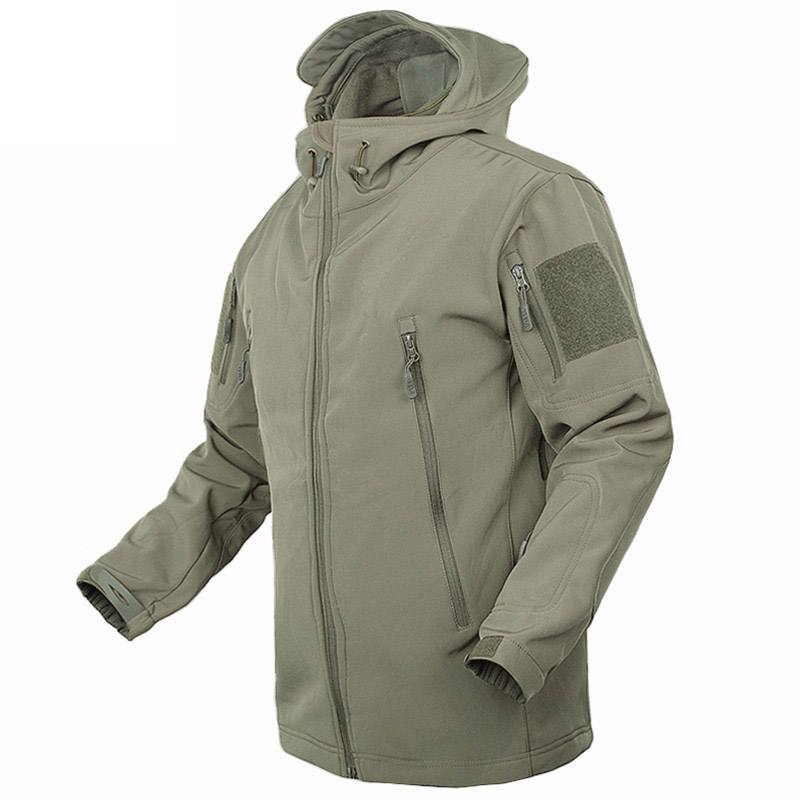 Outdoor Soft Shell Tactical Military Jacket Men Waterproof Fleece Coat Army Camouflage Windbreaker Camping Hiking Hooded Jacket(China)
