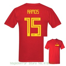 dd6772b7a 2018 new Russia World Match Cup Spain Ramos Number 15 sporty jersey Newest  summer T shirt