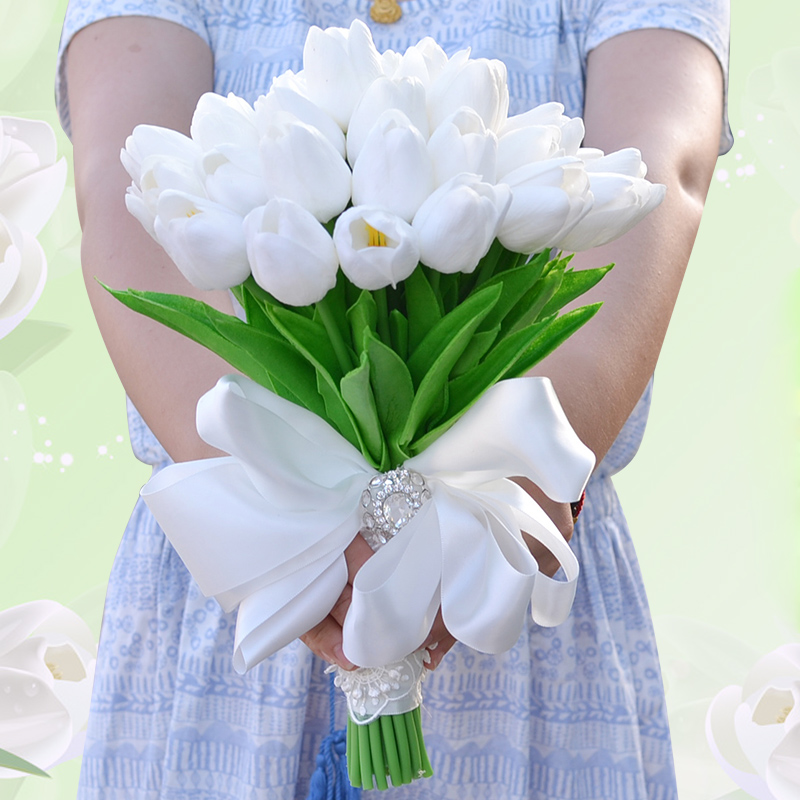 Artificial flower Mini Tulips Centerpieces Real Touch Silk Bridal Bouquets White Silk Tulips