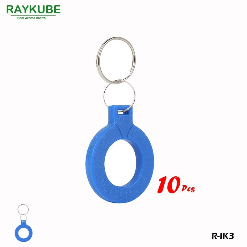 RAYKUBE R-IK3 New Keyfob 10Pcs/Lot 125Khz RFID Proximity Keyfobs For Door Access System raykube 125khz rfid proximity keyfobs 10pcs lot tk4100 em keytags rfid for access control keyfobs r ik1
