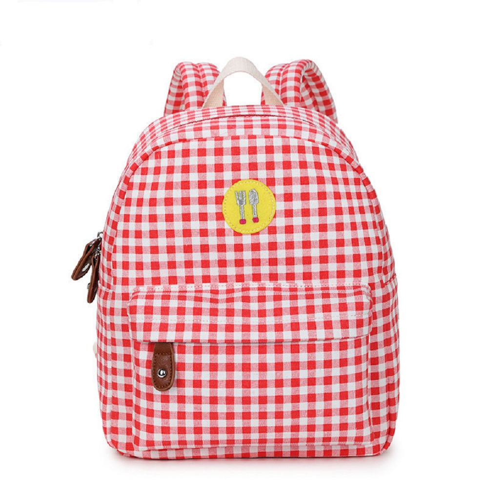 Women s Canvas Backpack Small Red Plaid Backpack Student School Bag Multi functional Ladies Travel Bag