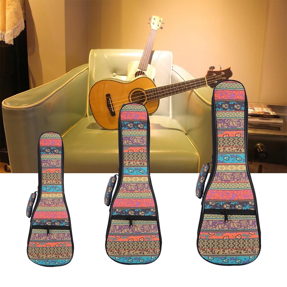 Ukulele Bag Folk Style Portable Ukulele Bag Case Cover Backpack Single Shoulder For Ukulele 21''/23''/26'' Small Guitar Gig Bag 21 inch colorful ukulele bag 10mm cotton soft case gig bag mini guitar ukelele backpack 2 colors optional