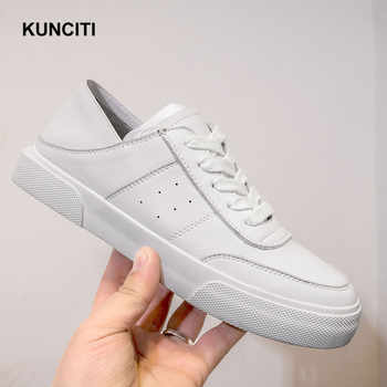 2019 Sneakers Women Tenis Espadrilles Genuine Leather Loafers Lace Up Ladies Leather Mules White Beige Casual Shoes F936