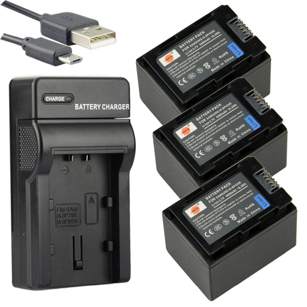 DSTE 3PCS IA-BP420E Li-ion Battery + UDC105 USB Port Charger For SAMSUNG SMX-F40 F44 F50 F70 F54 HMX-H200 Camera 1pcs cga s006e cgrs006a cgr s006e cgr s006a 1b bp dc5u rechargeable camera li ion battery for panasonic bp dc5 e