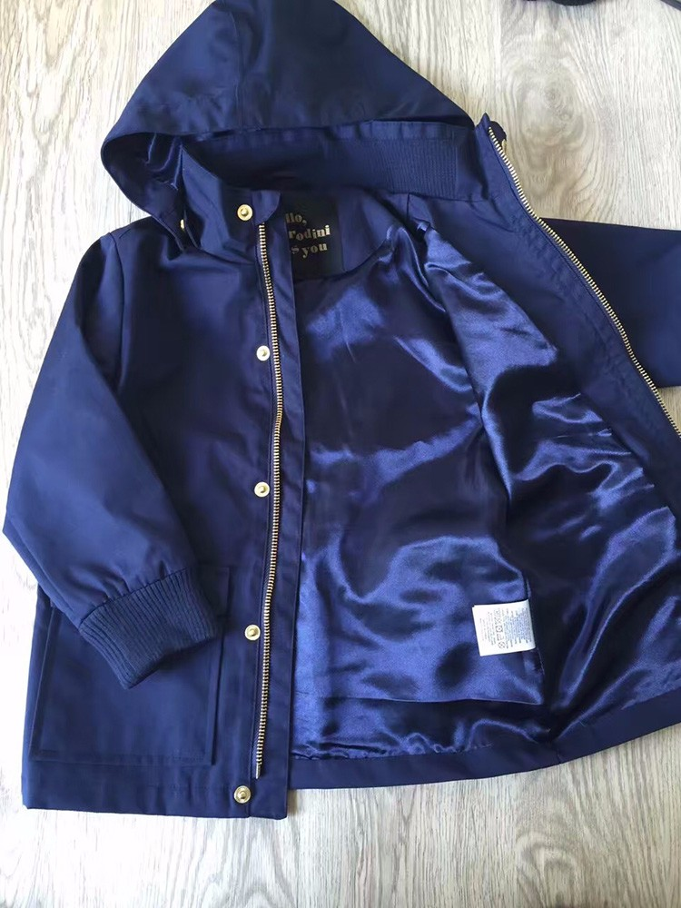 Coats Girls Boys Trench Coat Kids Toddler Winter Jacket Hoodi Waterproof Pink Orange Blue Color YKK Zipper Cicishop