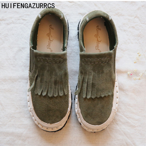 HUIFENGAZURRCS-Head layer cowhide pure handmade new Japanese folk style shoes,Sen female casual shoes,retro leisure shoes huifengazurrcs new head layer cowhide