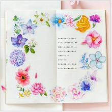 45Pcs/Pack Kawaii Japanese Decoracion Journal Cute Diary Flower Stickers Scrapbooking Flakes Stationery School Supply Girl Gift