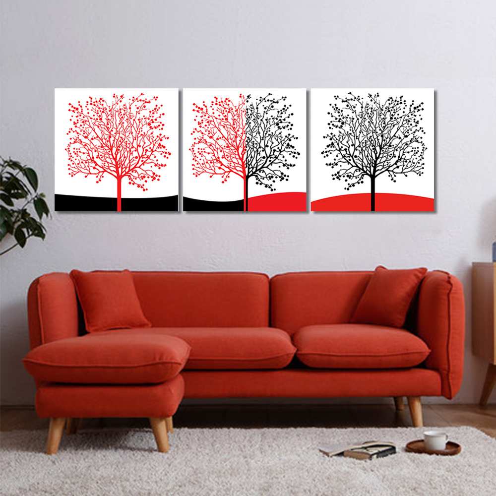 Unframed Multiple Pieces HD Canvas Painting Abstract White Red Dry tree Prints Wall Pictures For Living Room Wall Art Decoration