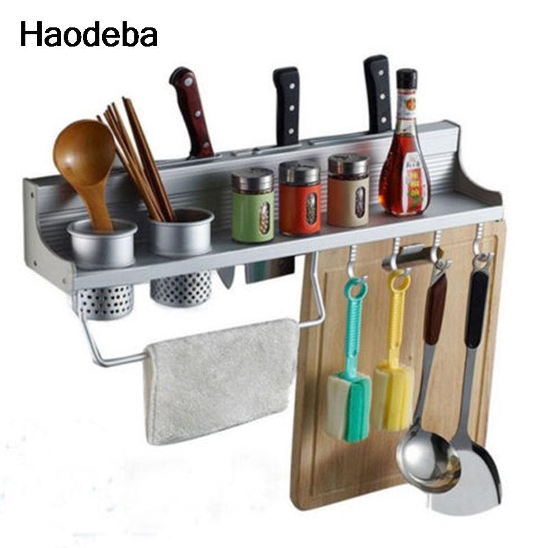 haodeba largo de aluminio pan pot rack almacenaje de la cocina despensa organizador ganchos porta utensilios de cocina especias