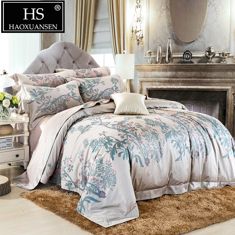 650TC Egyptian Cotton 100S Yarn Dyed Jacquard Garden Flower Design Bedding set Bed sheet Duvet Cover Pillowcase Queen King Size